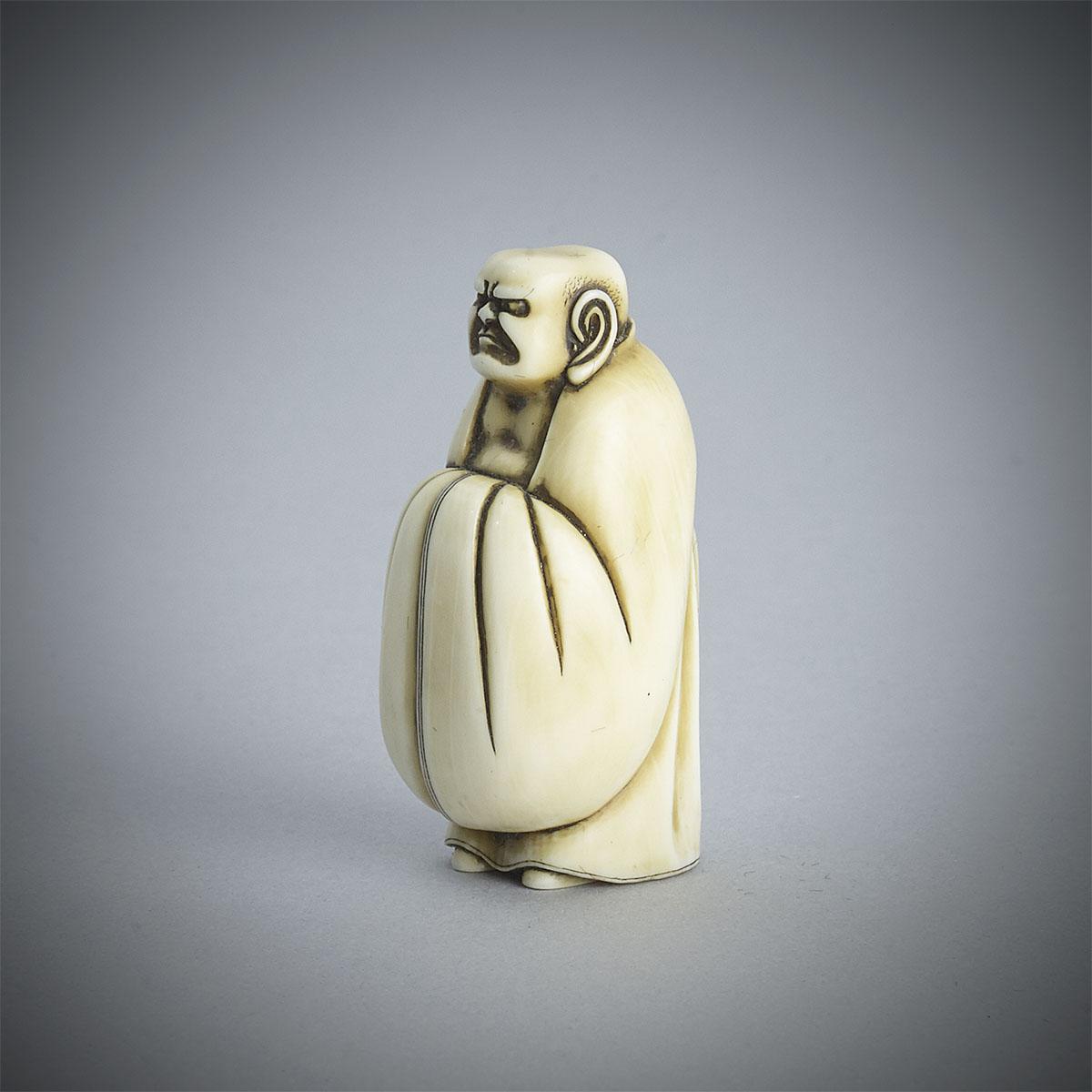Ivory Netsuke of Daruma by Ohara Mitsusada, MR3331_v1
