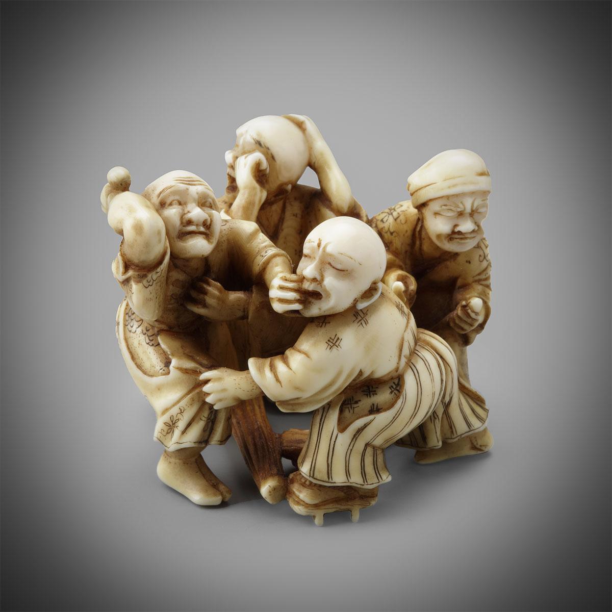 Ivory Netsuke of Four Blind Men by Seiun, MR3266_v1