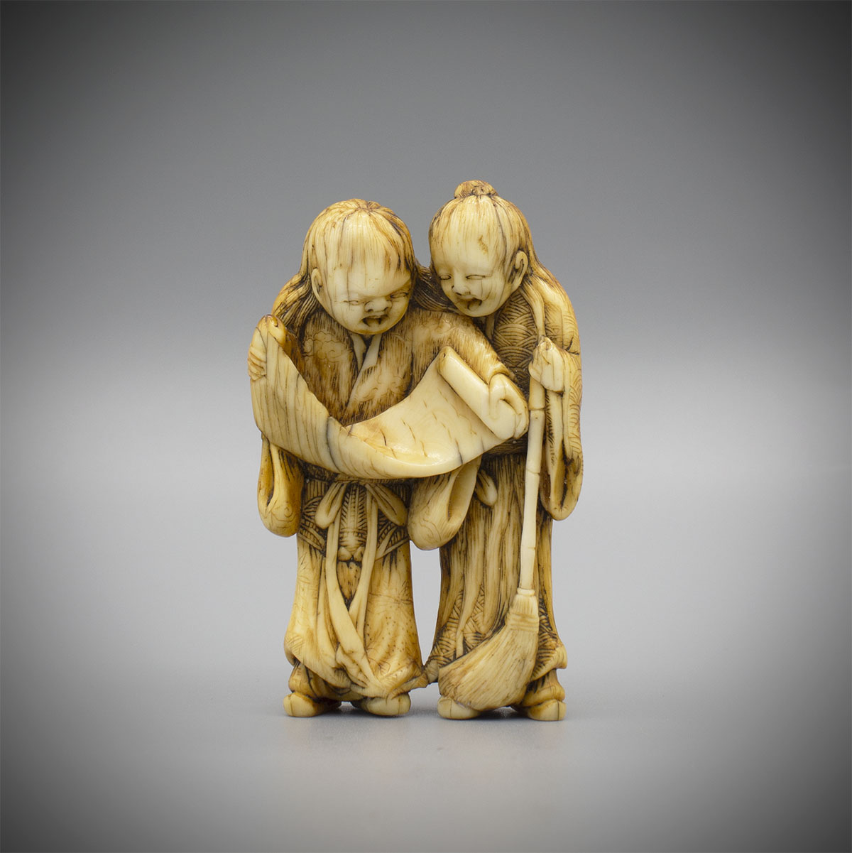 Ivory Netsuke of Kanzan and Jittoku, MR3322_v1