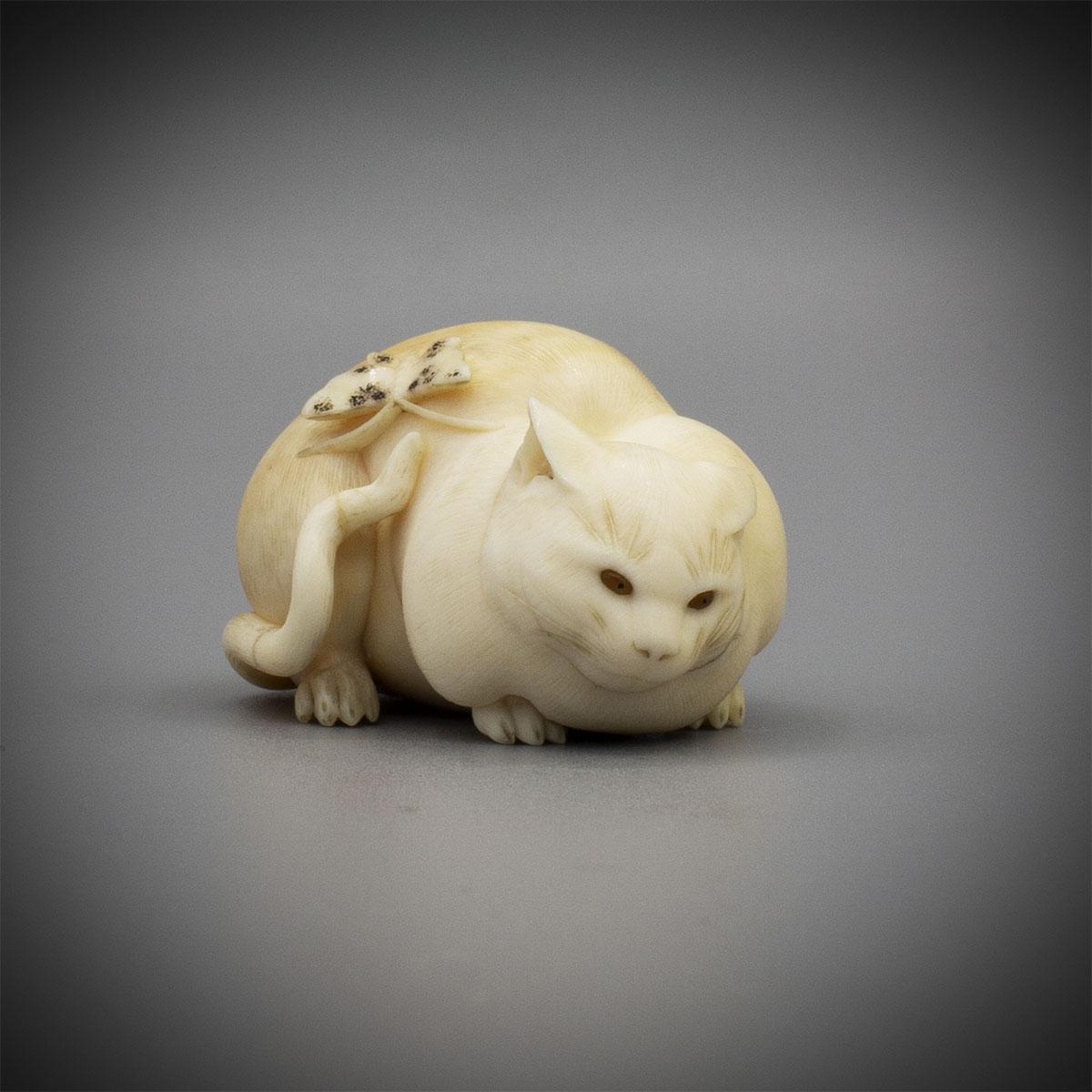 Ivory Netsuke of a Crouching Cat by Kaigyokusai Masatsugu