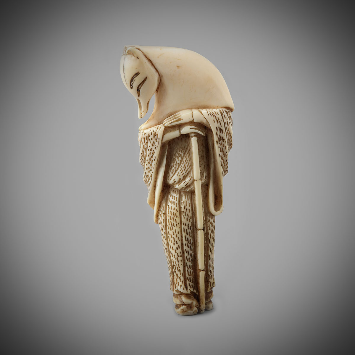 Ivory Netsuke of a Fox Priest