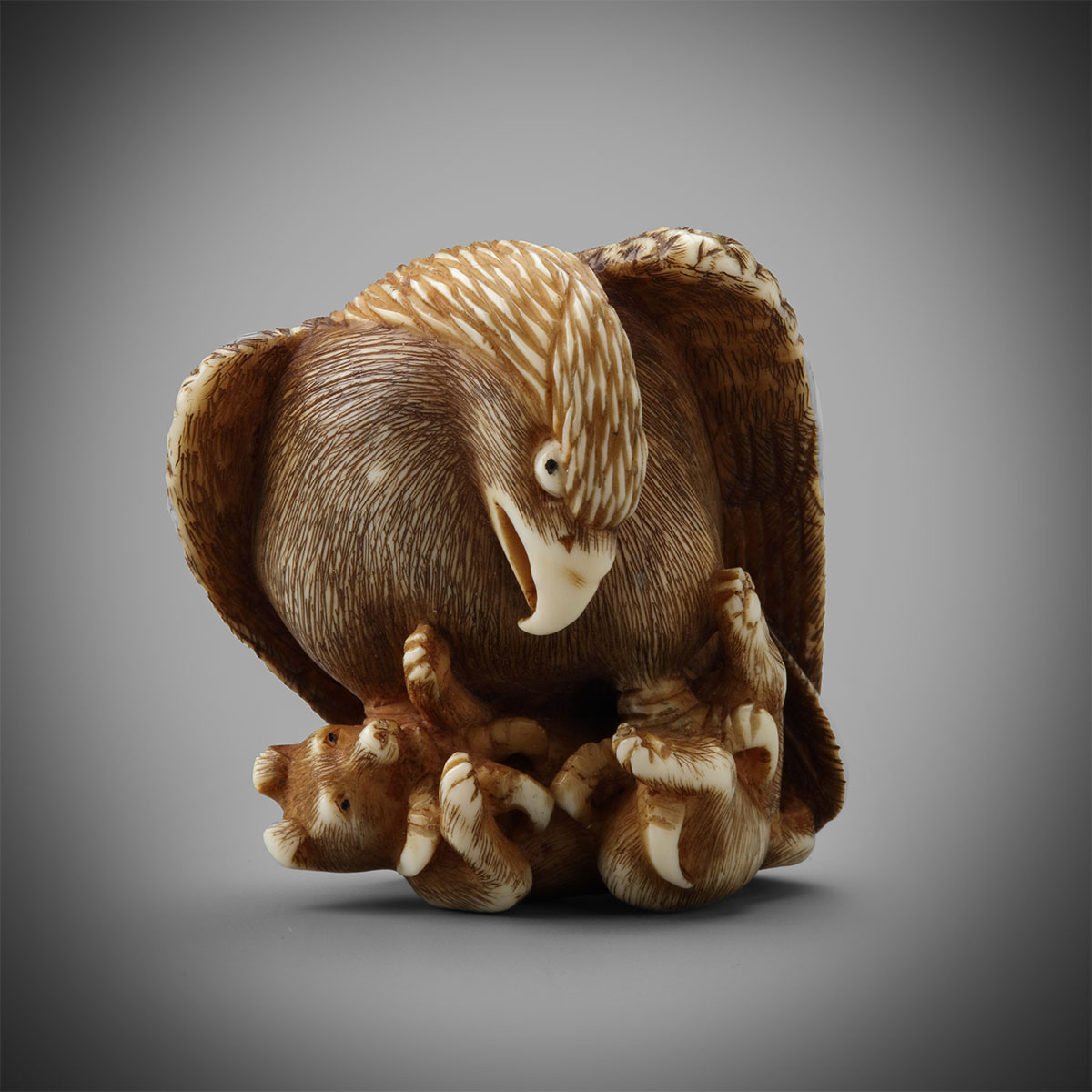 Ivory Netsuke of an Eagle and Fox by Tomochika, MR3264_v1