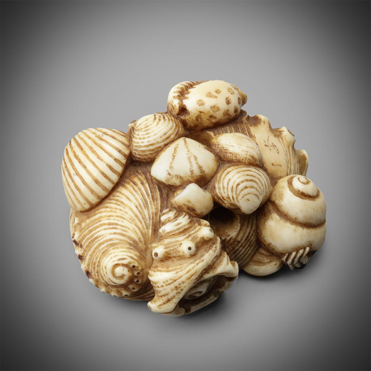 Large Ivory Netsuke of Shells by Issai , MR3260_v1