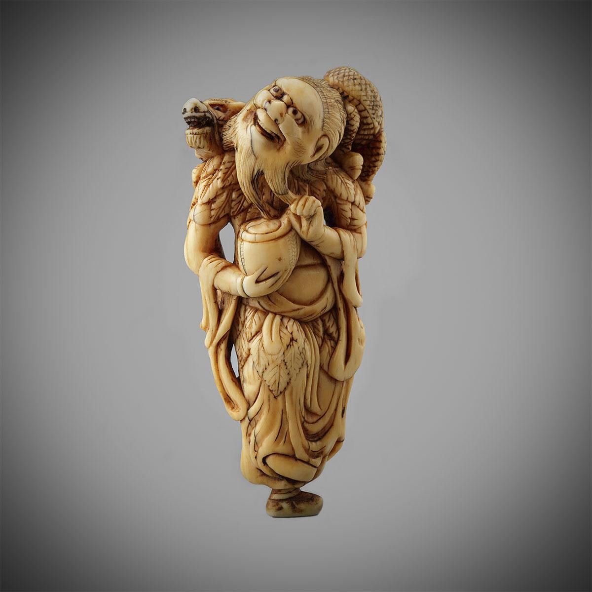 Old Ivory Netsuke of Chinan Sennin