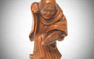Rare Boxwood Netsuke of a Fox Priest by Matsuda Sukenaga, MR3344v1-2