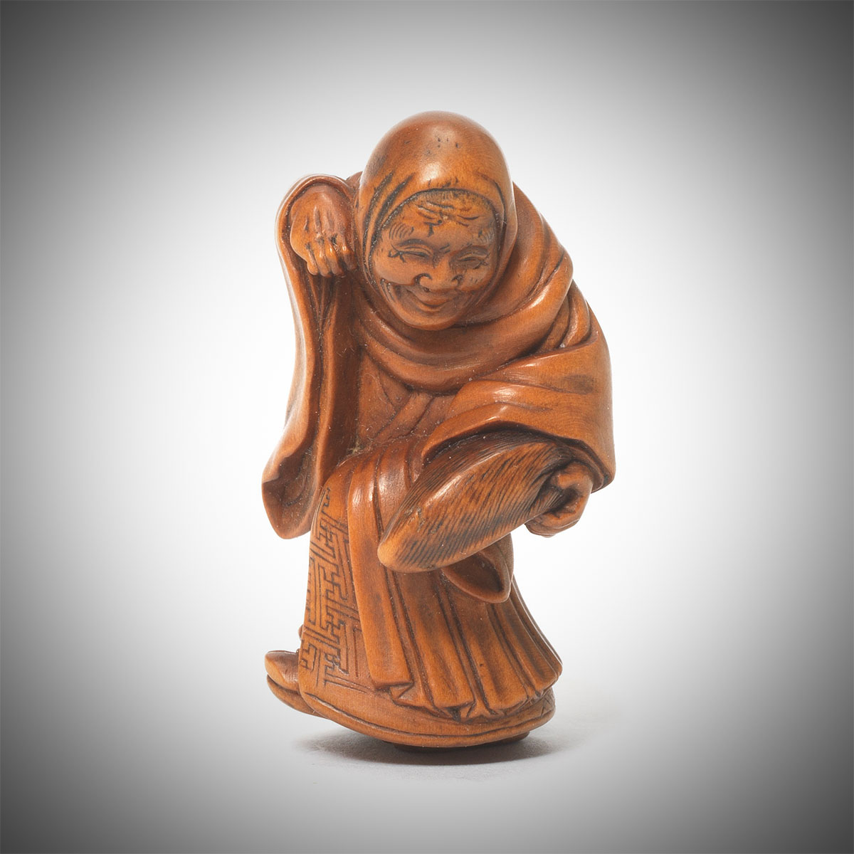 Rare Boxwood Netsuke of a Fox Priest by Matsuda Sukenaga, MR3344v1-2