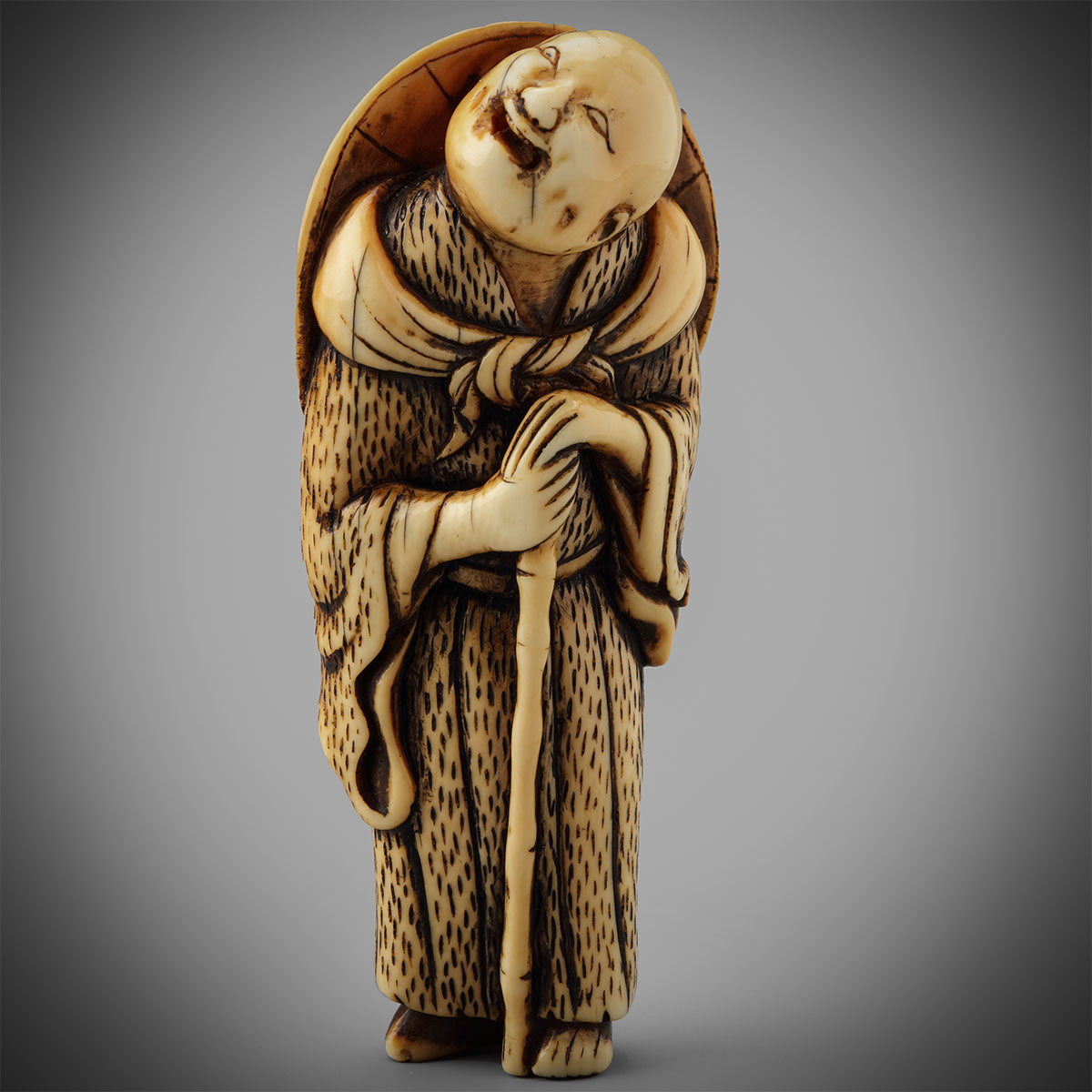 Stained Ivory Netsuke of an Itinerant Priest, MR3275_v1