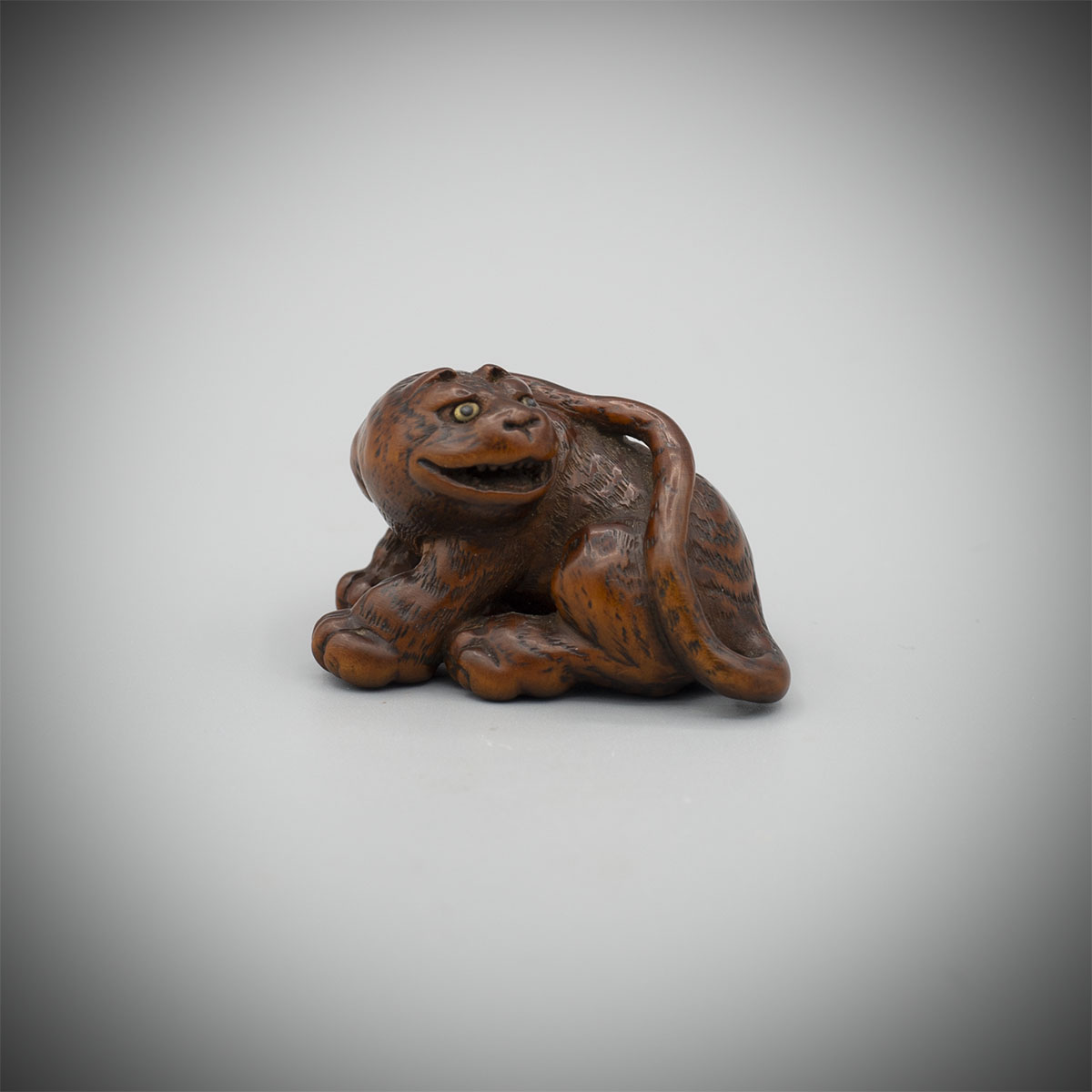 Dark Stained Boxwood Netsuke of a Male Tiger Attributed to Tōmin, MR3373_v1