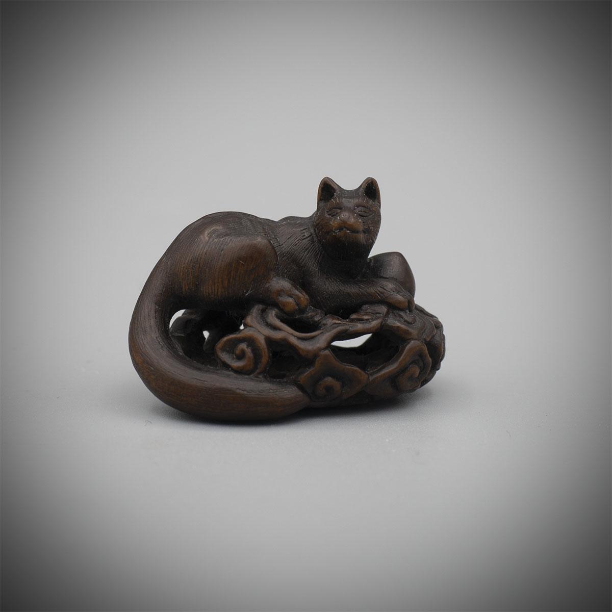 Dark Stained Wood Netsuke of the Inari Fox, MR3374_v1