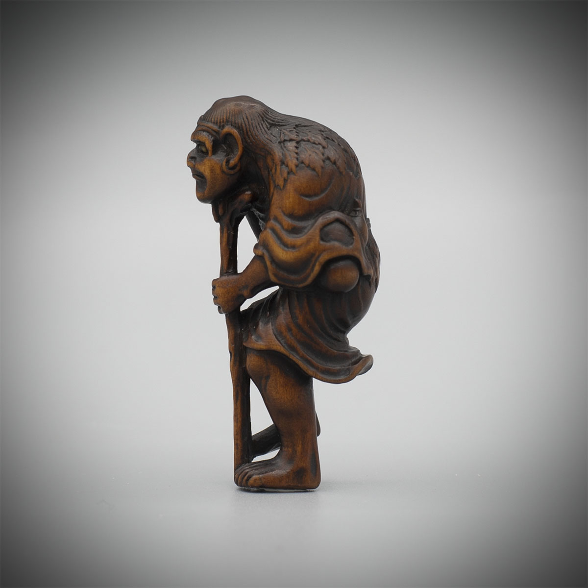 Wood Netsuke of Tekkai Sennin Attributed to Soshin, MR3370