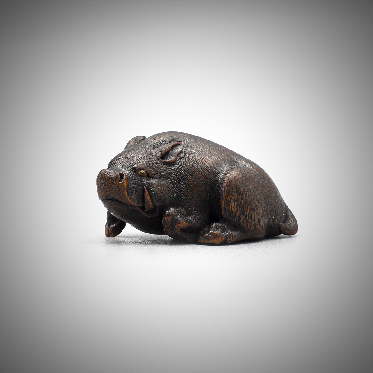 Wood Netsuke of a Resting Boar by Hokyudo Itsumin, MR3369_v.1