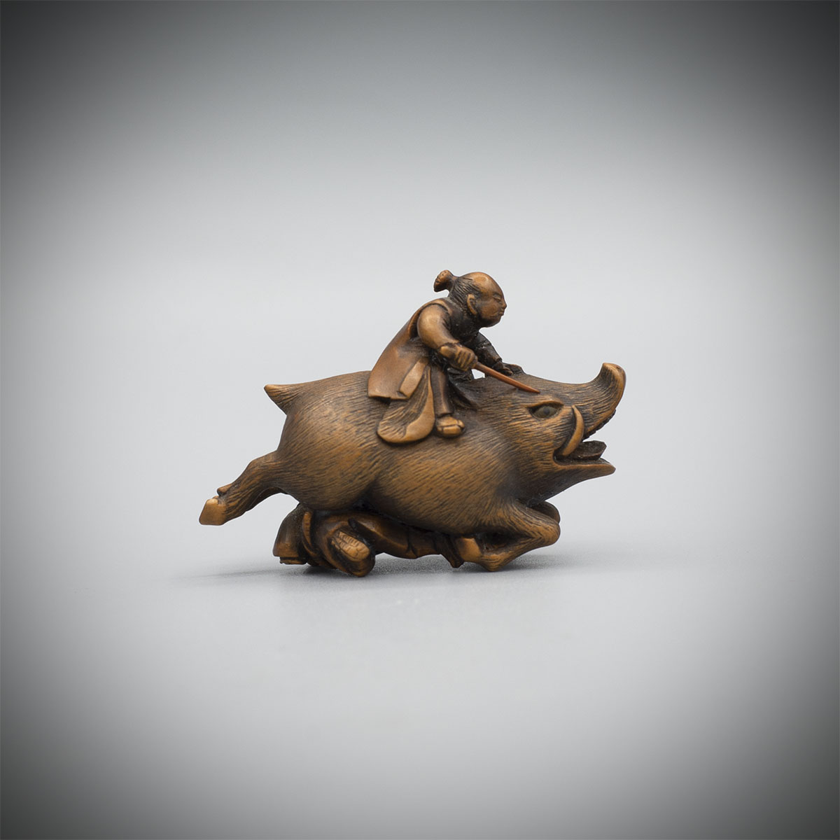 Dark Wood Netsuke of Nitta No Shiro by Masakazu,MR3379_v1