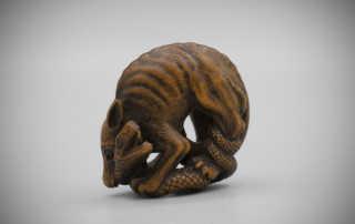 Rare Wood Netsuke of a Wolf and a Snake by Mokuyusai,MR3382_v1