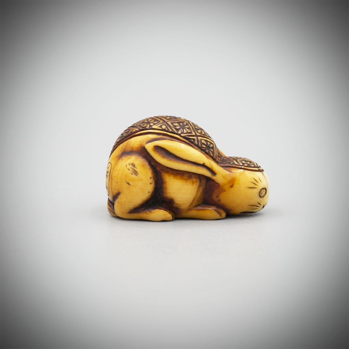 A Small Ivory Netsuke of a Stylised Crouching Hare by RakuzanmMR3407_v1