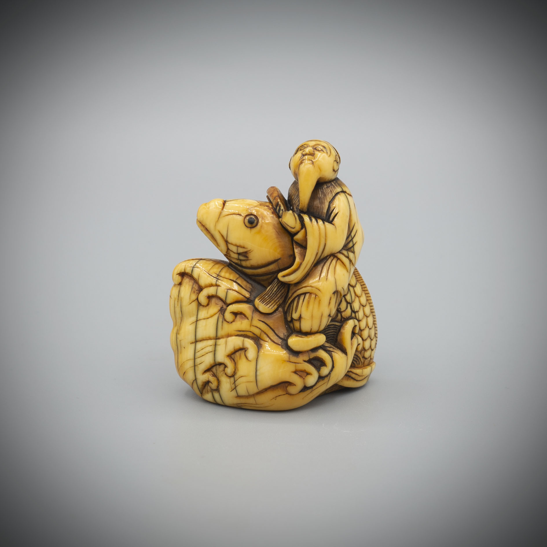 Early large netsuke of Kinko on his carp,MR3351_v1