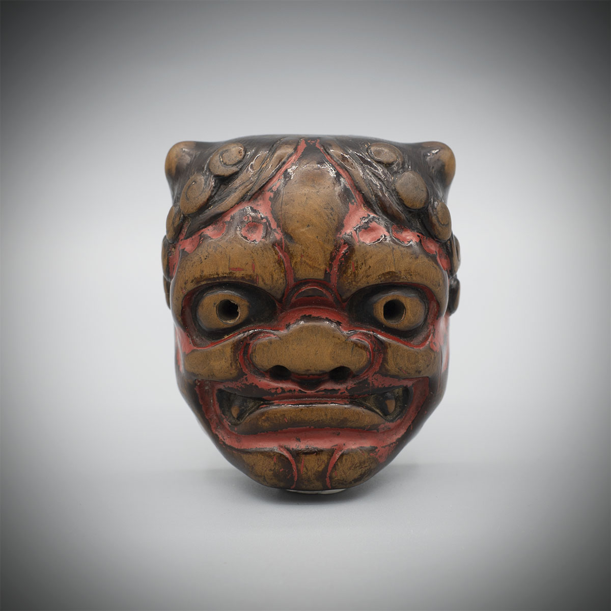 Large Old Wood Netsuke of an Oni Mask,MR3409_V1