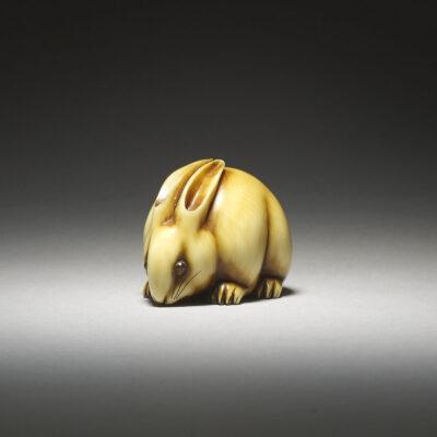 Охара Мицухиро, редкий нэцкэ из слоновой кости кролика-MR2882_v1