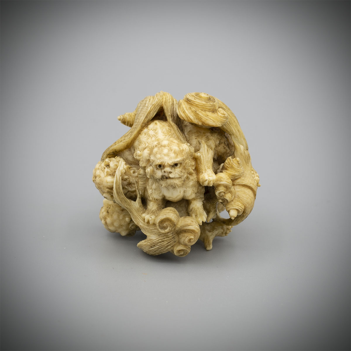 Small Intricate Ivory Okimono of Five Shishi, Attributed to ToshinagaMR3417_v1