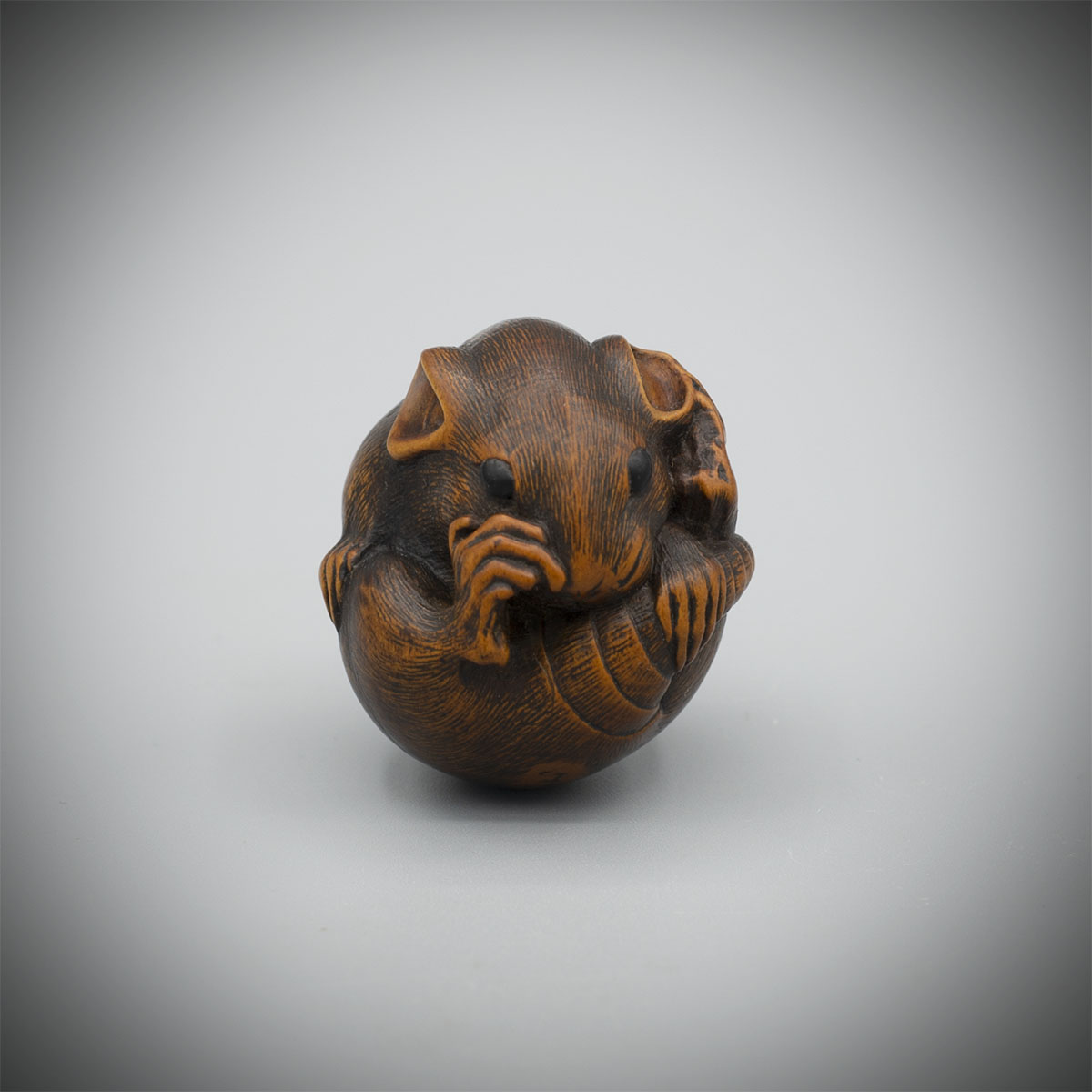 Wood Netsuke of a Balled Rat by Masatada,MR3380_v1
