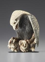 Eagle attacking 3 monkeys - Netsuke