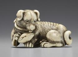Tomotada Ivory Netsuke of a dog