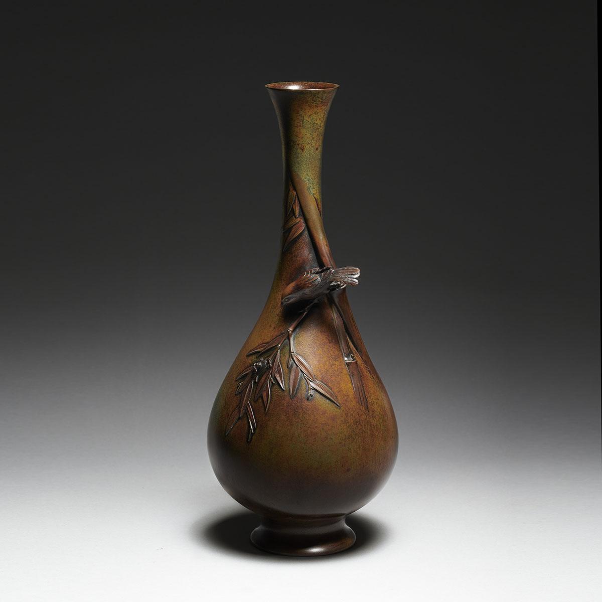 Miyao company vaso in bronzo con decoro a rilievo MR3424