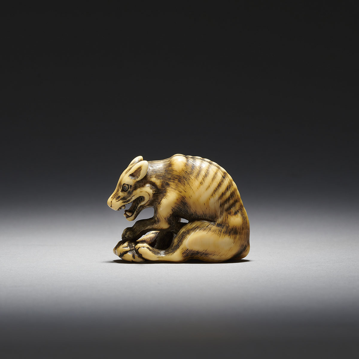 Tomotada workshop ivory netsuke of a wolf MR3422