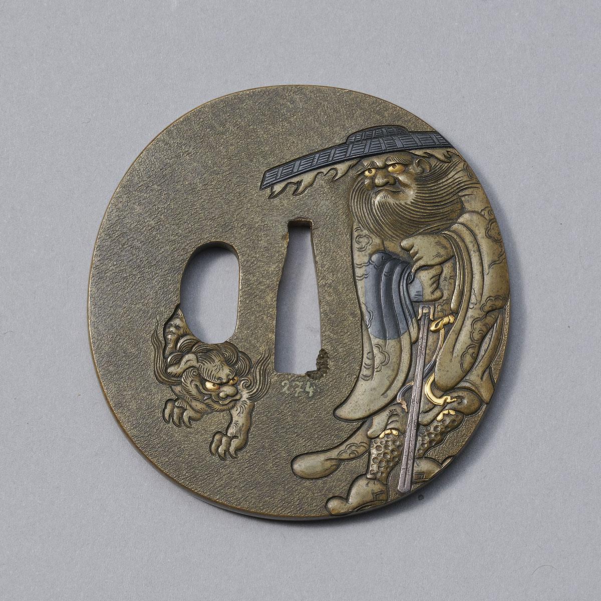 Hamano Style sentoku Shoki and shishi tsuba MR3434_v1