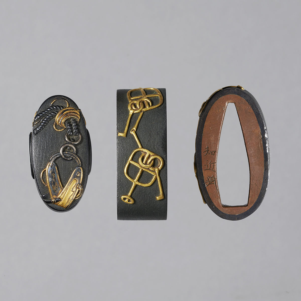 Tomochika Shakudo fuchi-kashira with equestrian harness MR3430