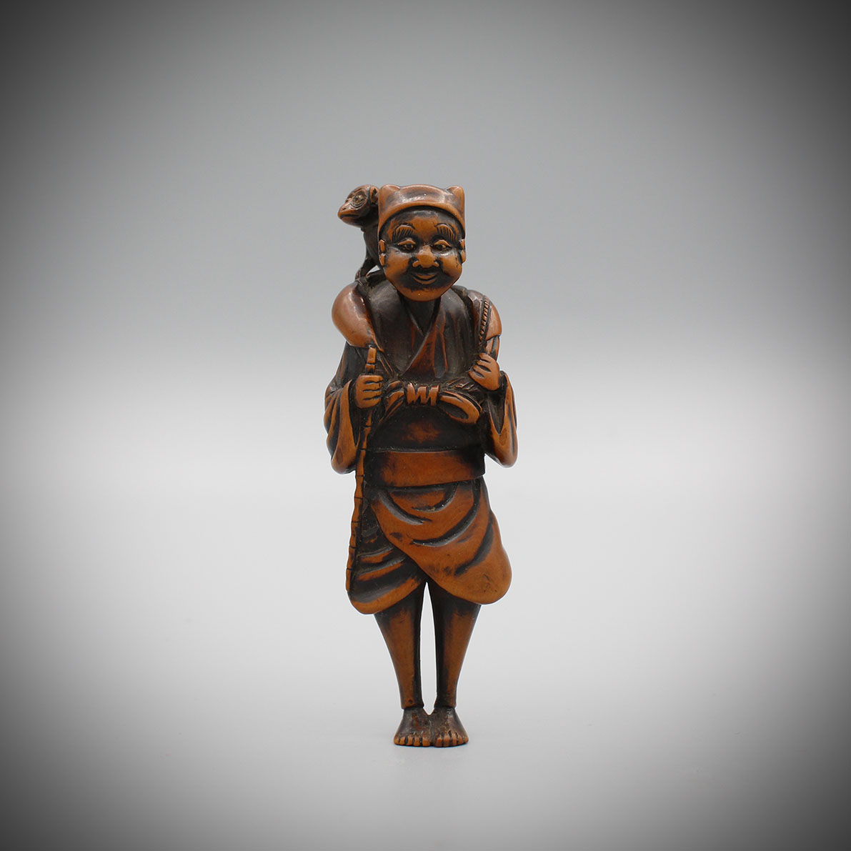 Large Wood Netsuke of a Sarumawashi, MR3056