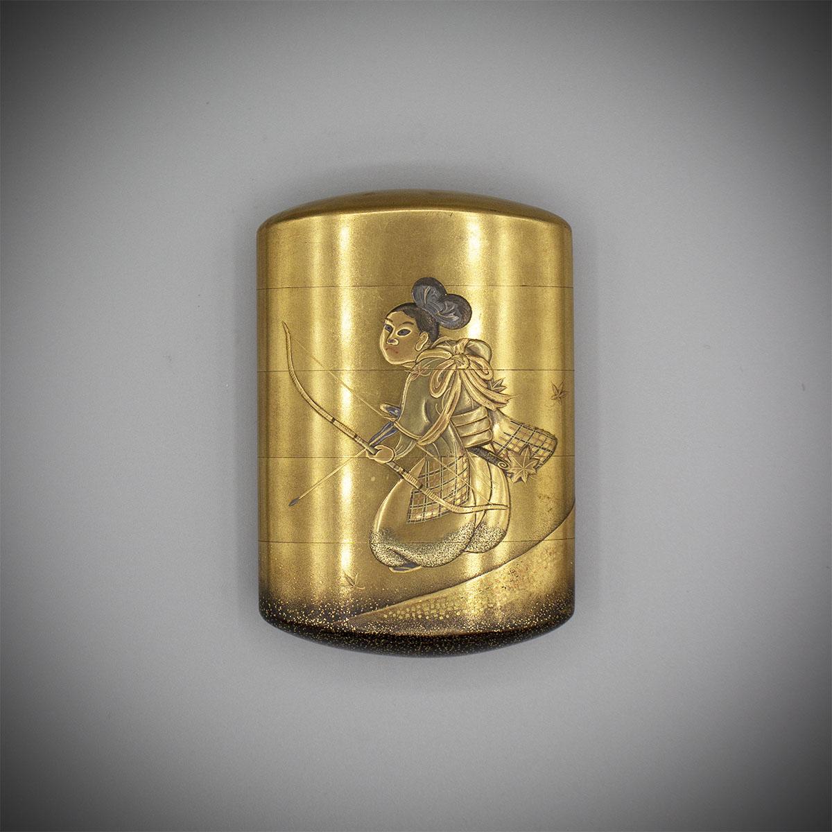 Vier Fall Gold Lack Inro mit Bogenschütze von IsshinMR3469_v.1