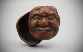 Worn Lacquered Wood Netsuke of Two Masks MR3473_v.1