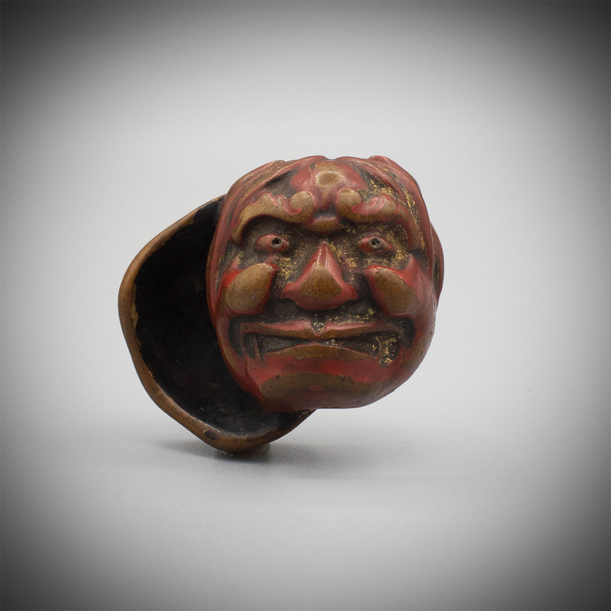 Worn Lacquered Wood Netsuke of Two Masks MR3473_v.1