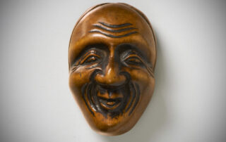 Boxwood Mask Netsuke of Ono no Komachi by Deme Uman MR3491_v.1
