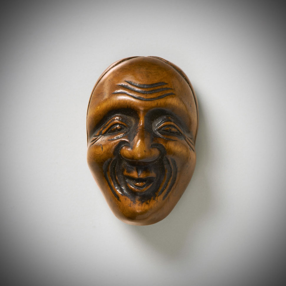 Boxwood Mask Netsuke of Ono no Komachi by Deme Uman MR3491_v.1