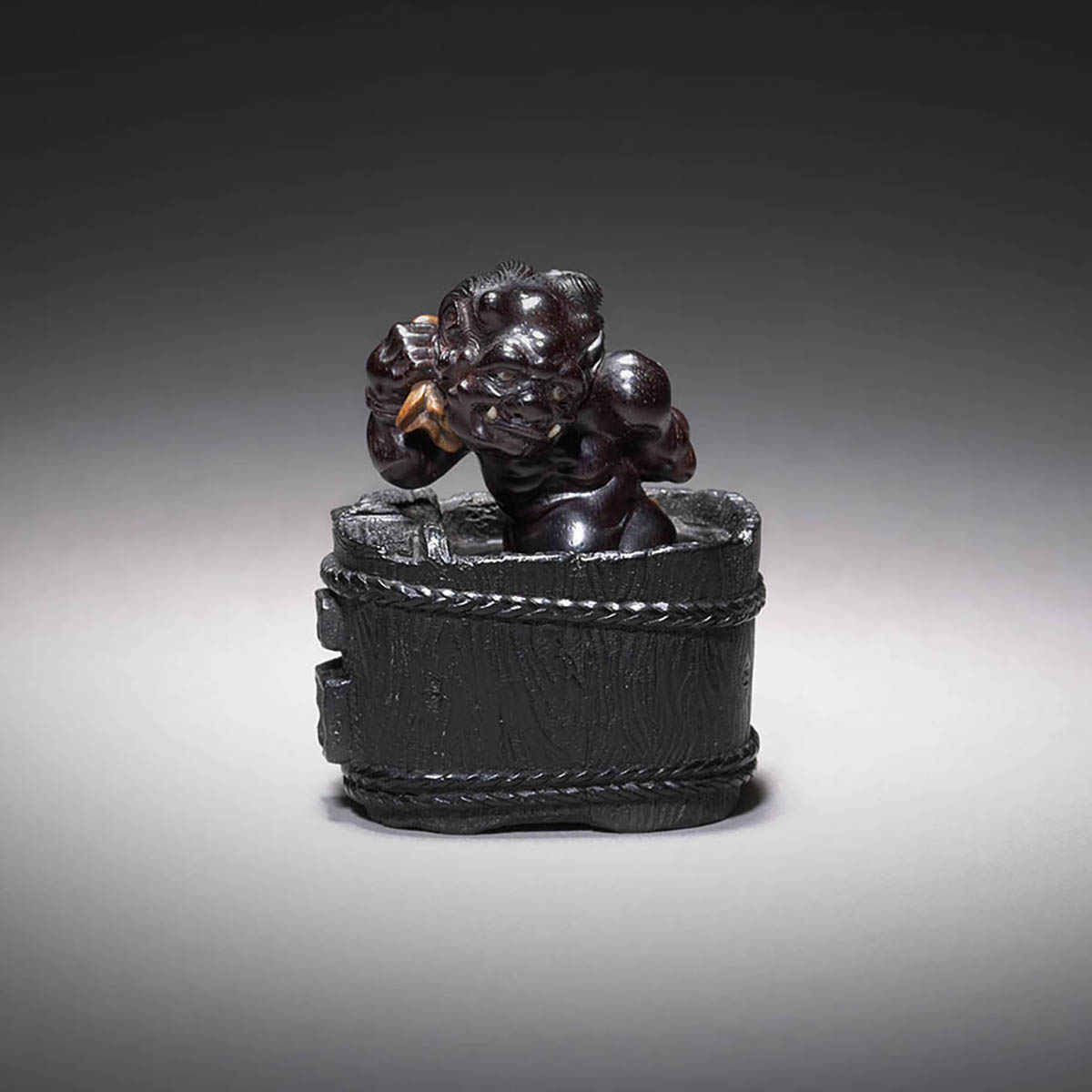 Dark Wood Netsuke of Oni Gyozui by Ouchi Sosui, MR3542_v1.2