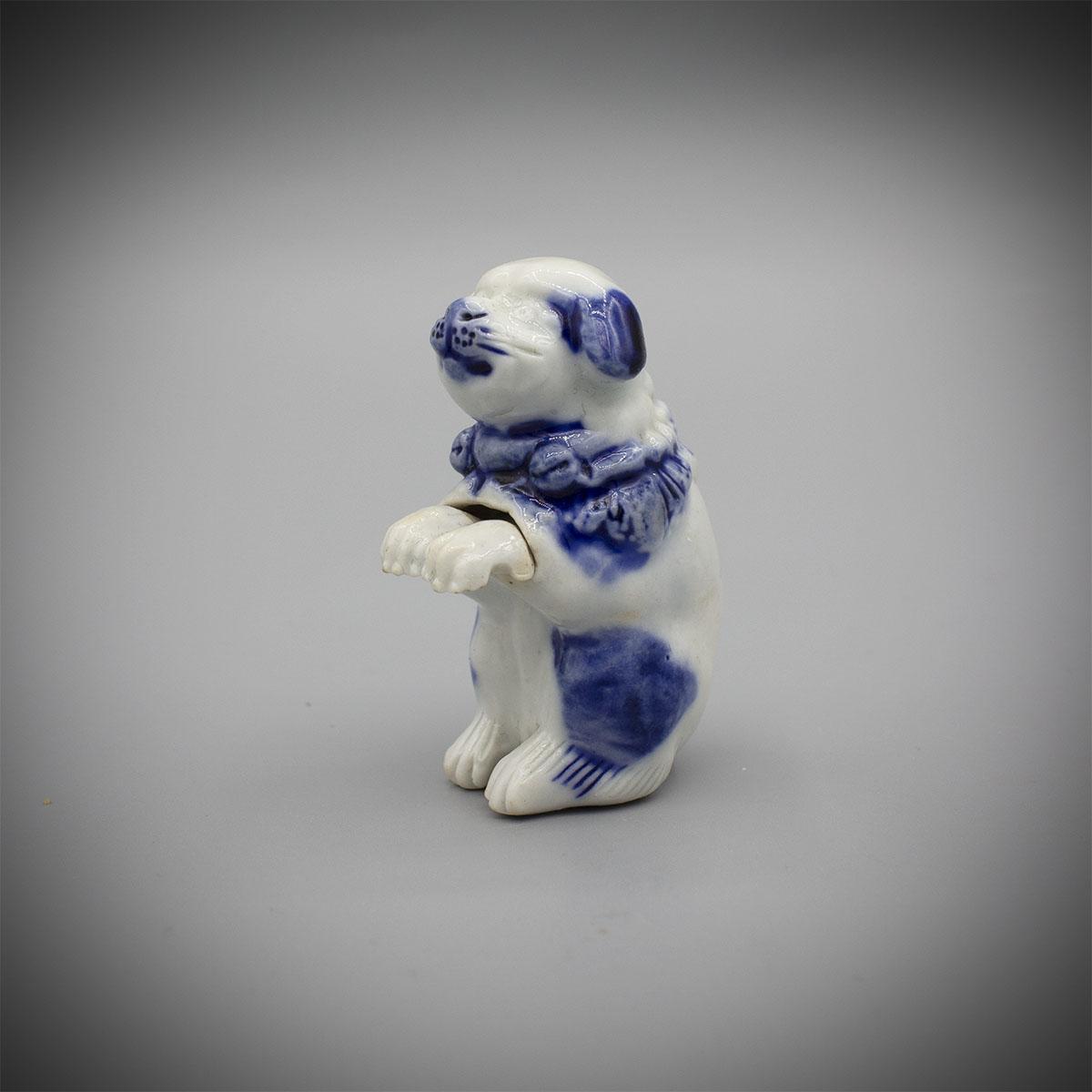 Hirado Blue and White Porcelain Netsuke of a Begging Dog MR3503_v.1