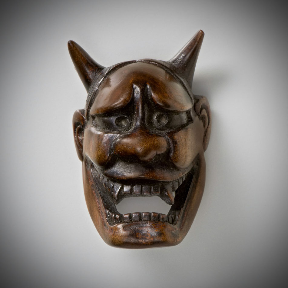 Plum Wood Mask Netsuke of Hannya MR3492_v.1