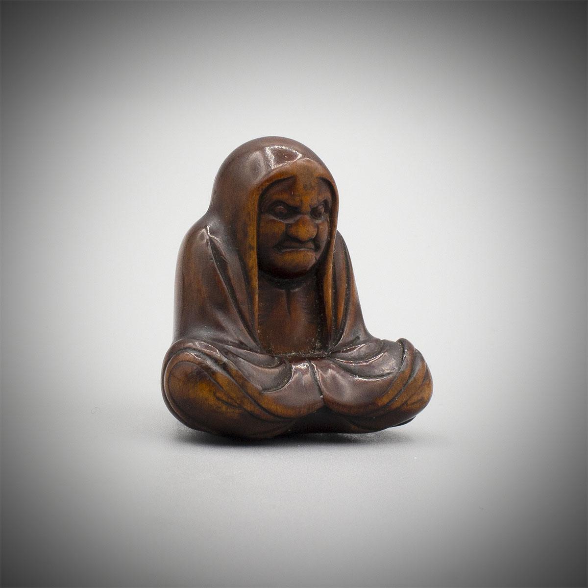Characterful Wood Netsuke of Daruma, MR3561_v.2