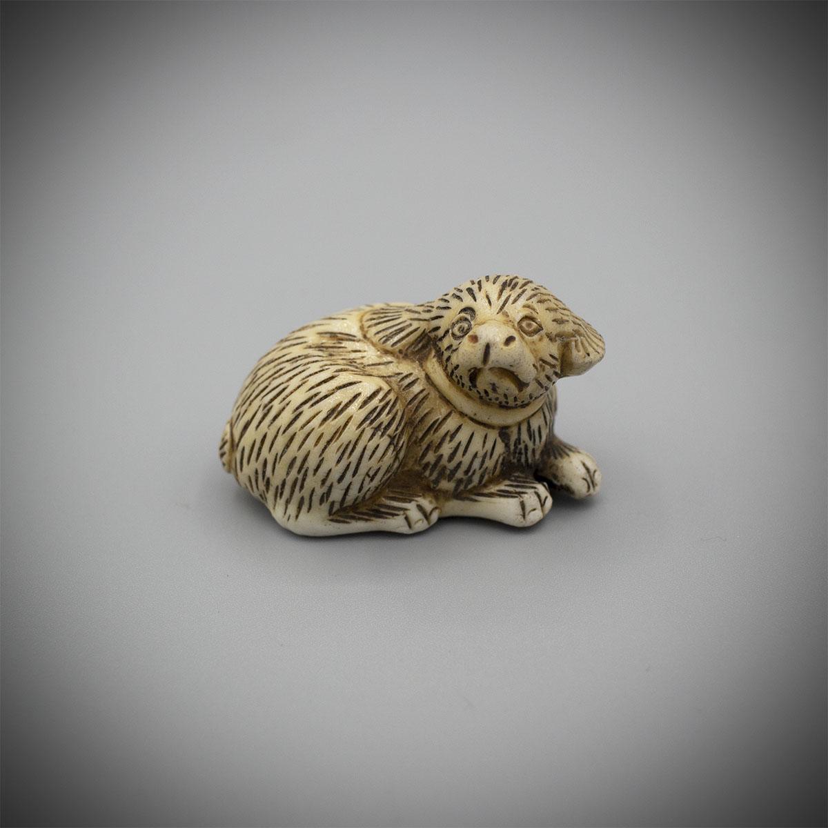 Hirado Porcelain Netsuke of a Dog_v.1