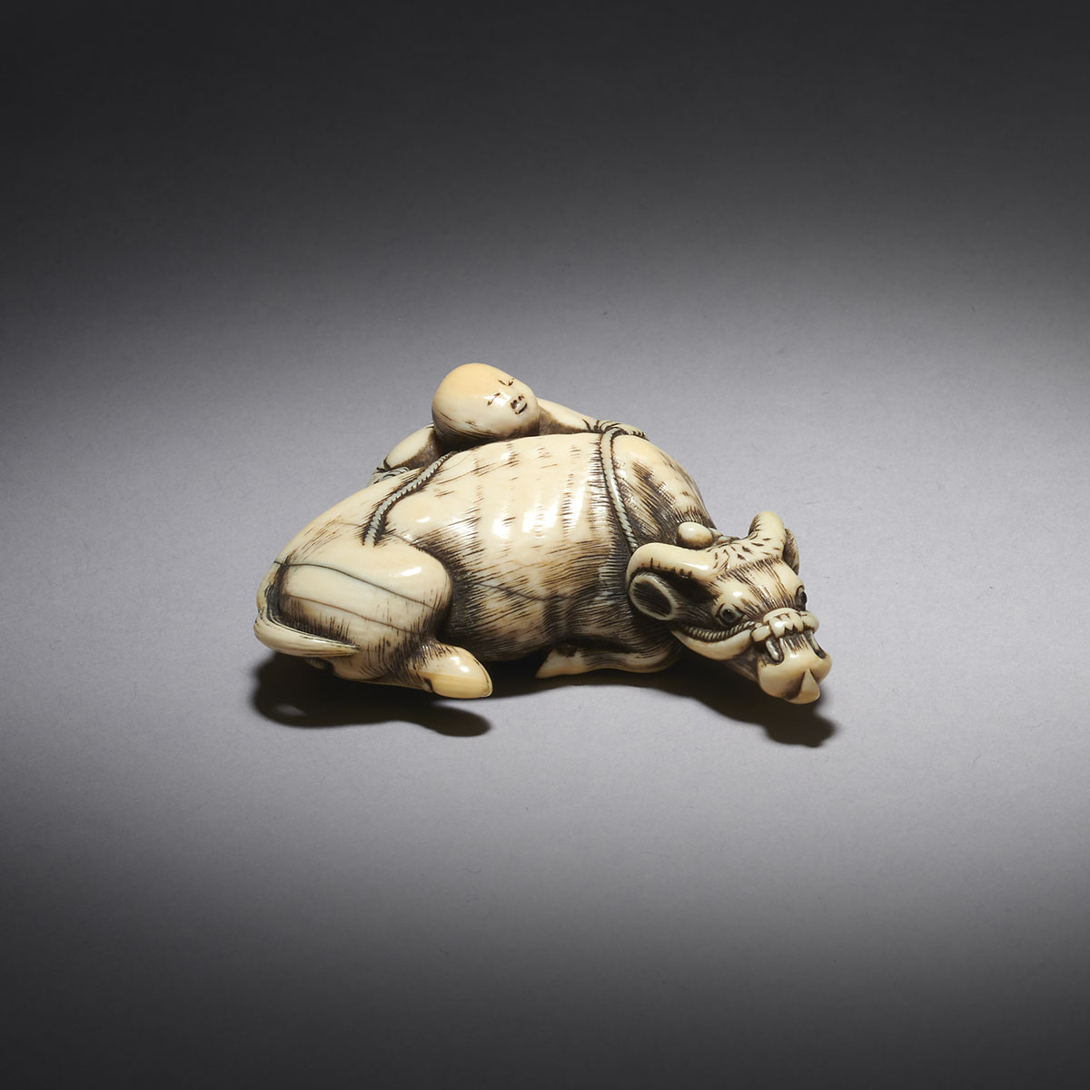 Large Ivory Netsuke of an Ox and Bokudo, Attributed to Garaku, MR3556_V4