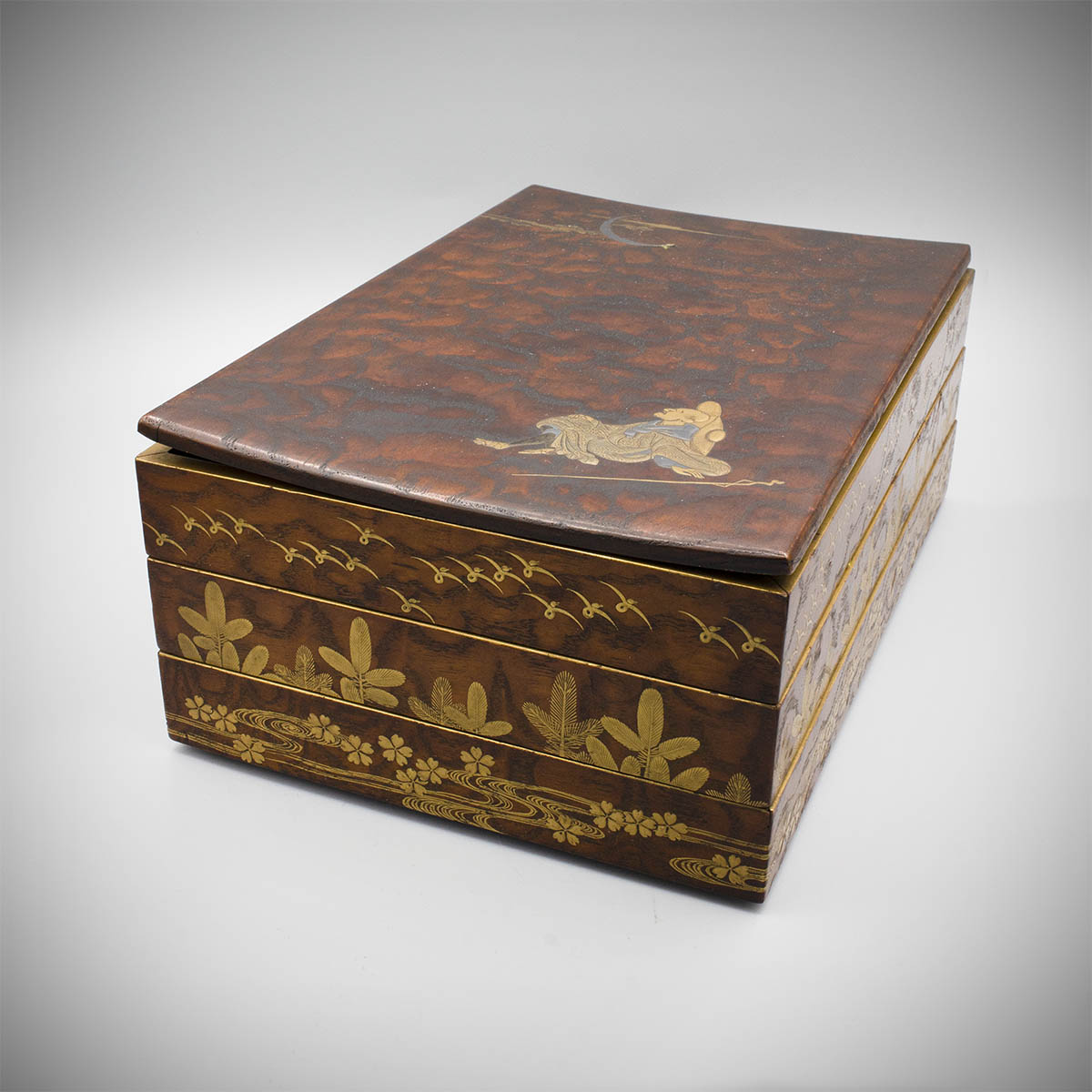 Partially lacquered three tiered wood box, MR3624_v.2