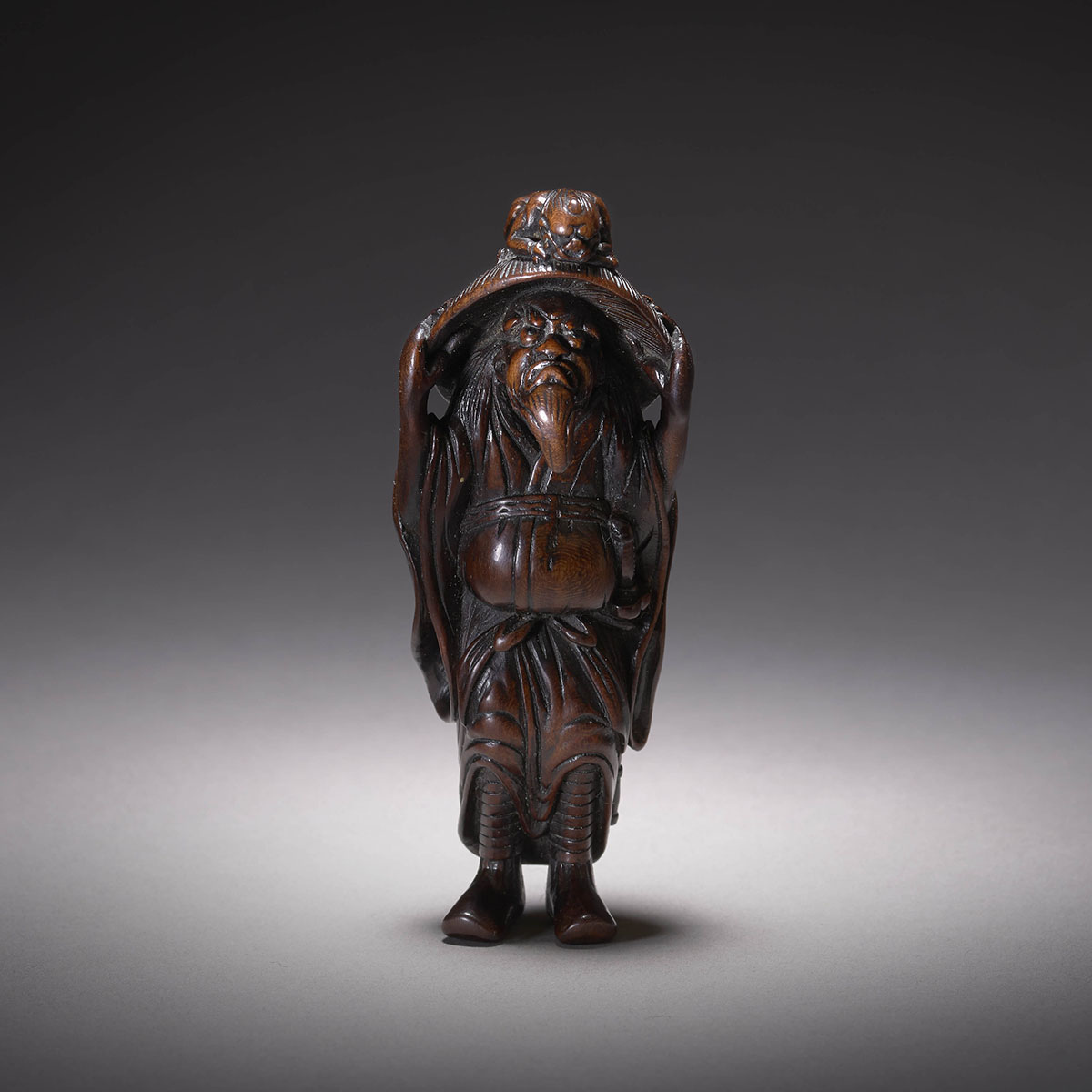 Prunus Wood Netsuke of Shoki and Oni, MR3521_v1.1jpg