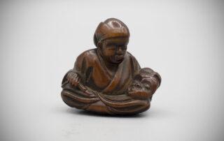 Wood Netsuke of a Mask Carver by Hoshunsai Masayuki MR3545_v.1.1