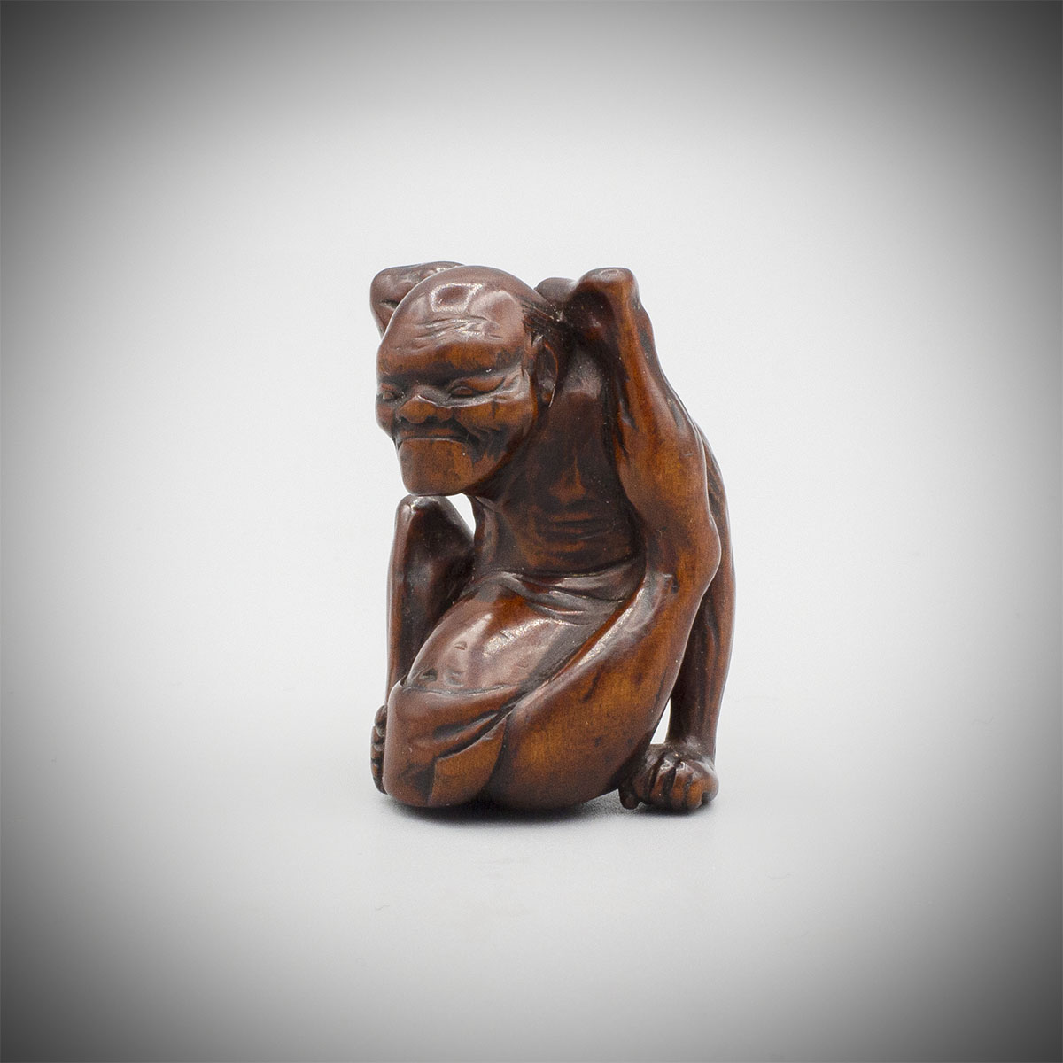 A Wood Netsuke of a Contortionist, MR3530_v.1