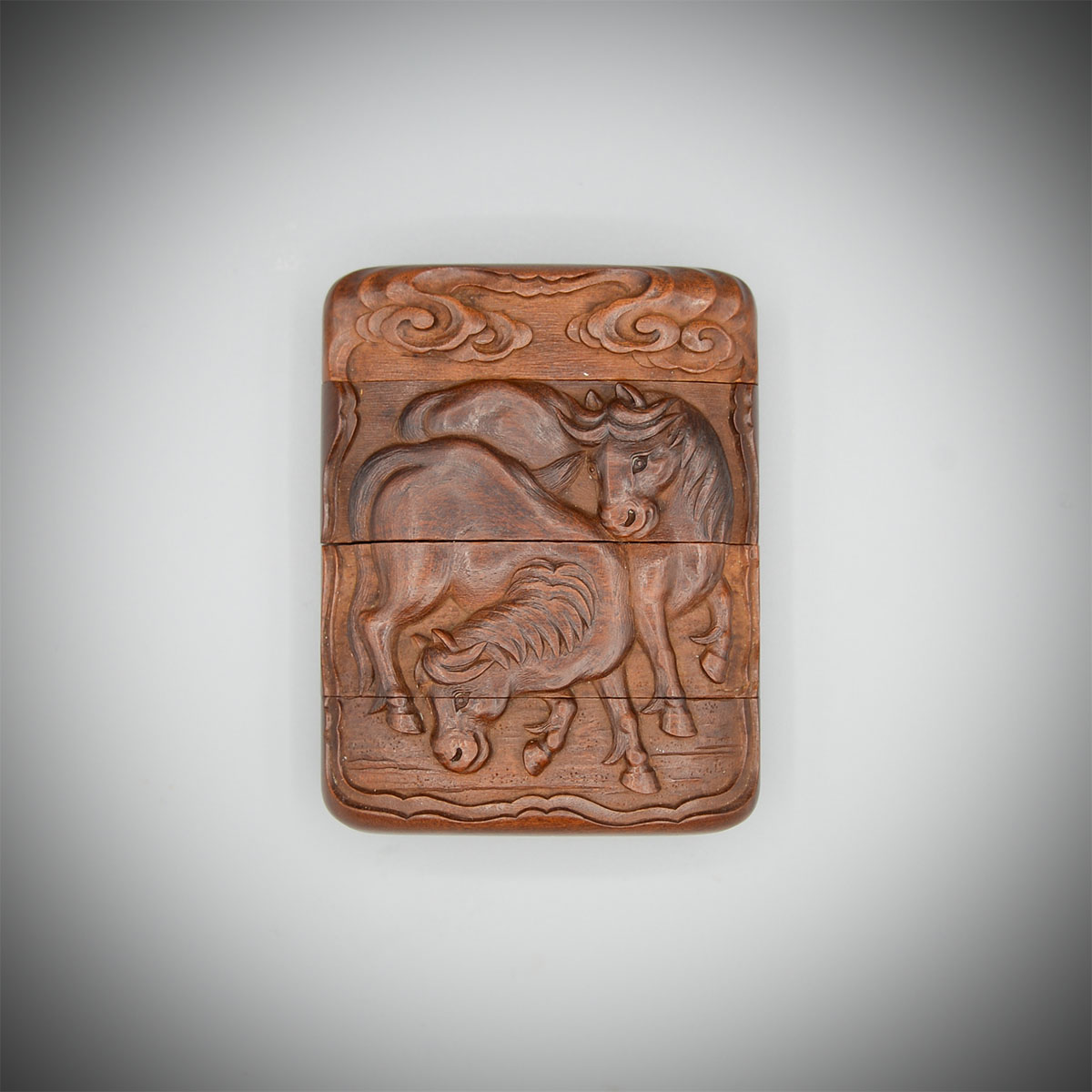 A wood three case inro with three horses by Oshomitsu, MR3650_v.1