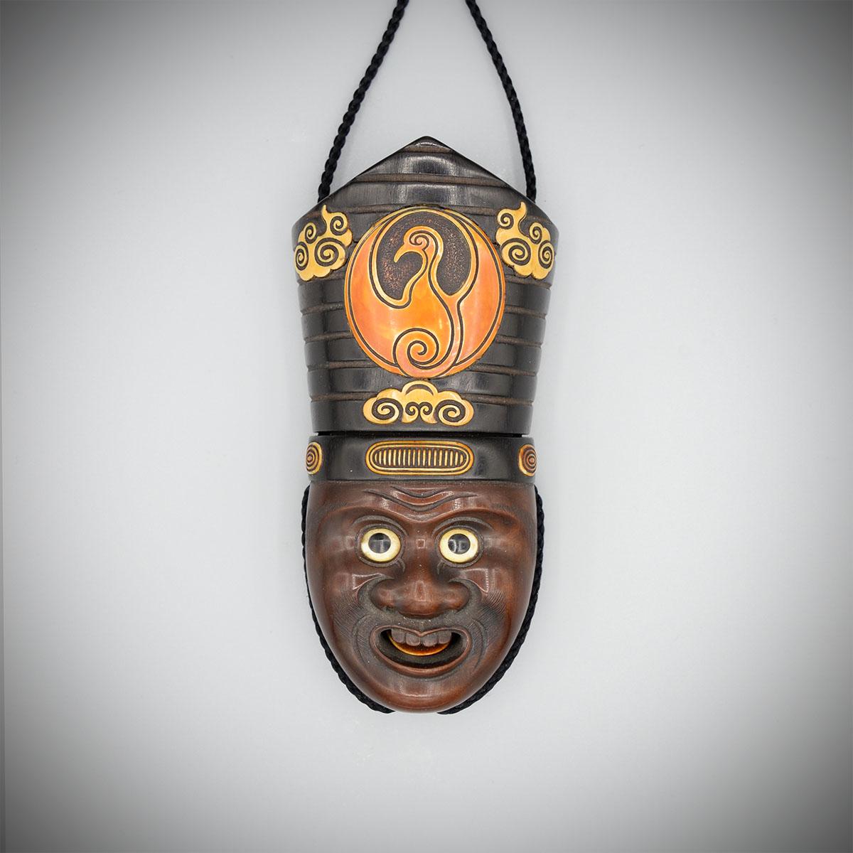 Einzelfall-Holztrick-Sagemono in Form des Kopfes eines Sambaso-Tänzers von Gyokumin, MR3647_v.1