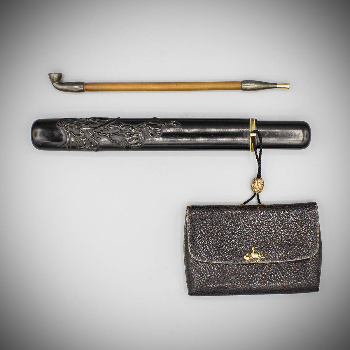 An elegant ebony pipe case with leather pouch, MR3672_v.1-2
