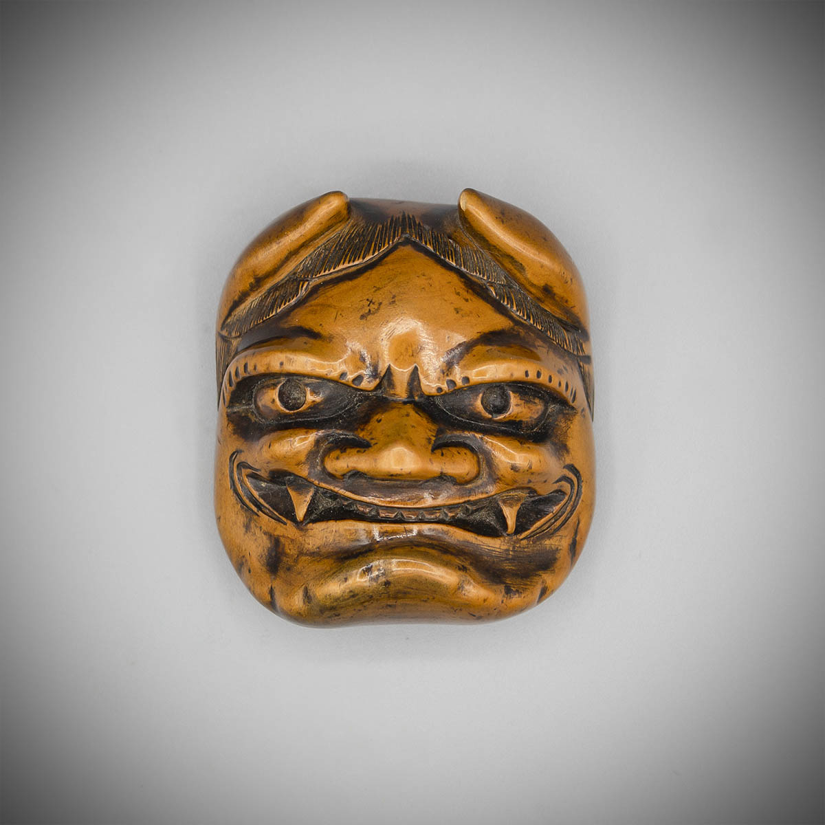 Boxwood mask netsuke of Oni, MR2378_v.1