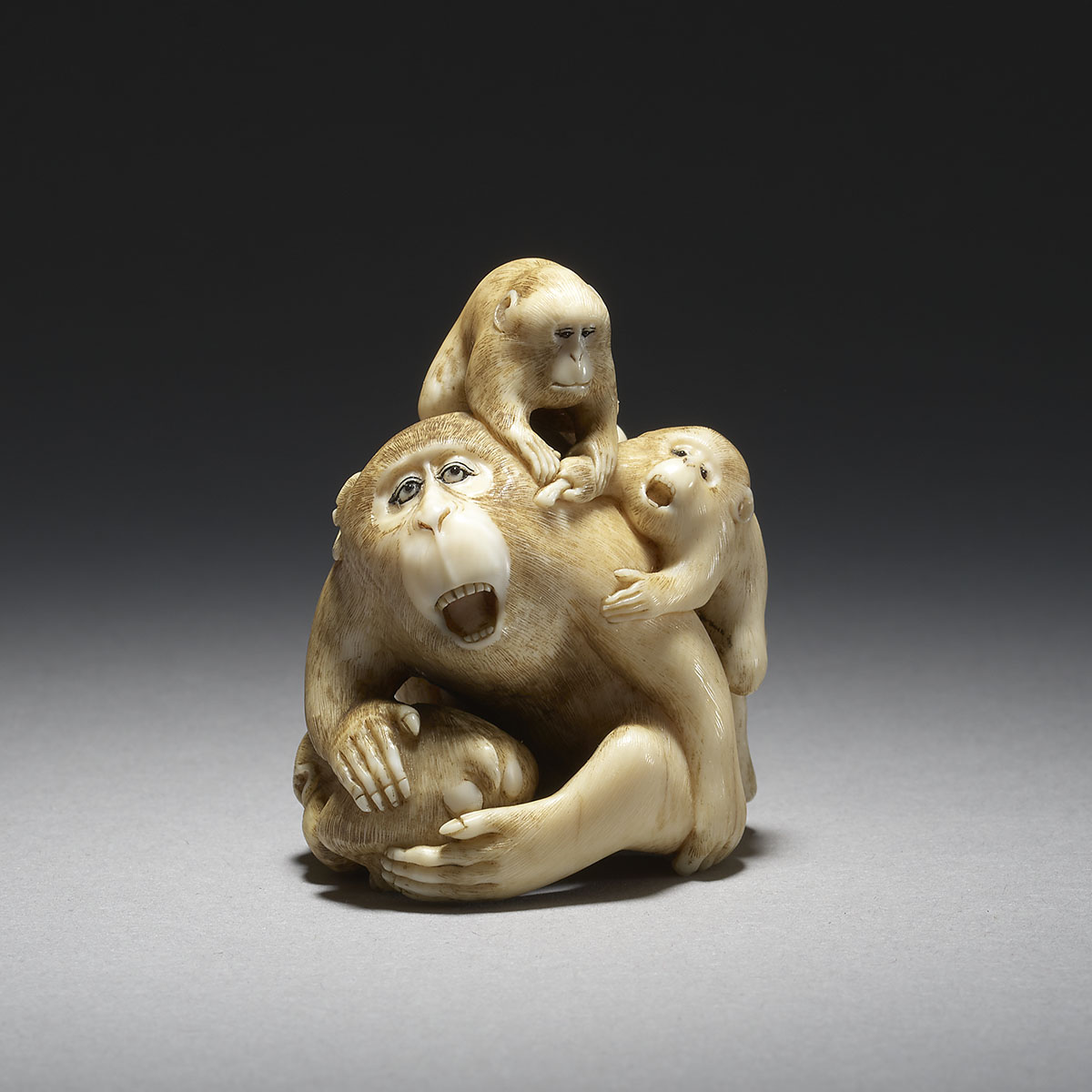 MR3683_v1 Ivory Netsuke of Monkeys by Masatami